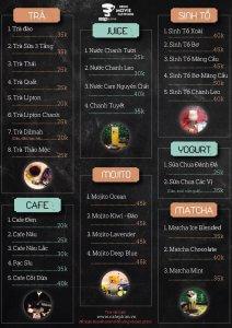 menu quán cafe nổi bật