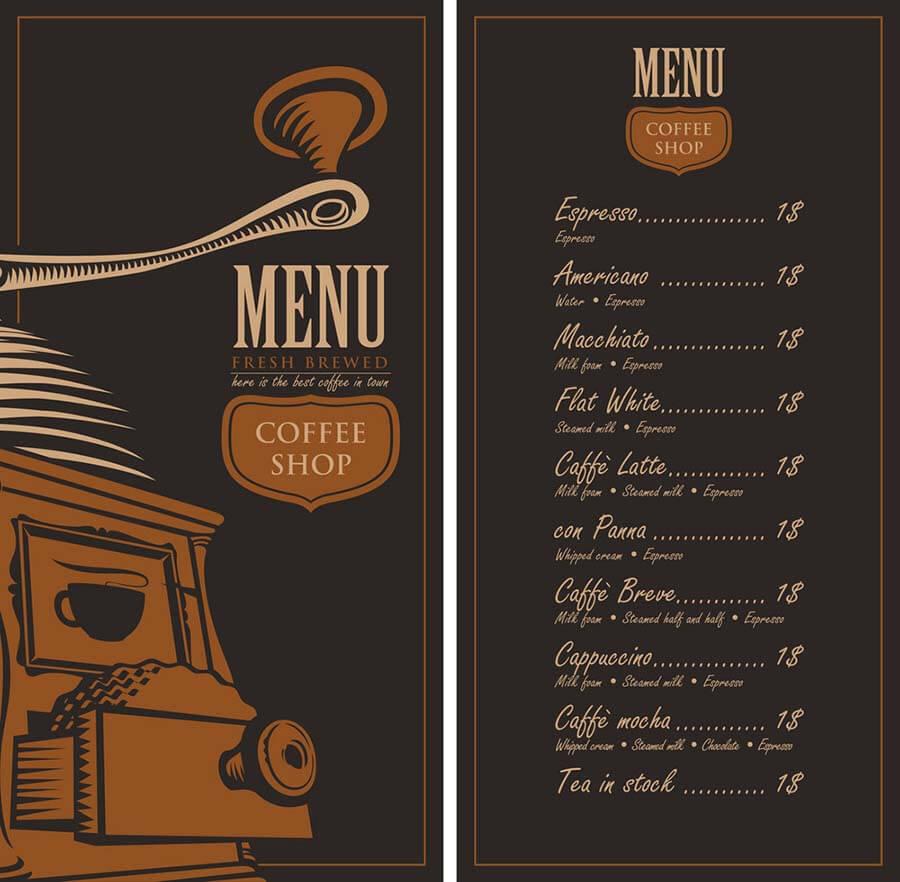 Menu quán cà phê cổ điển