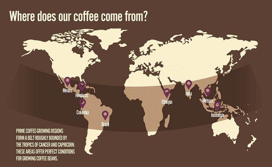 Bản đồ các nước trồng cà phê trên thế giới